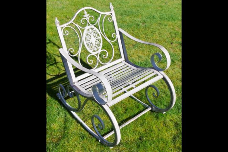 Grey Metal Rocking Chair