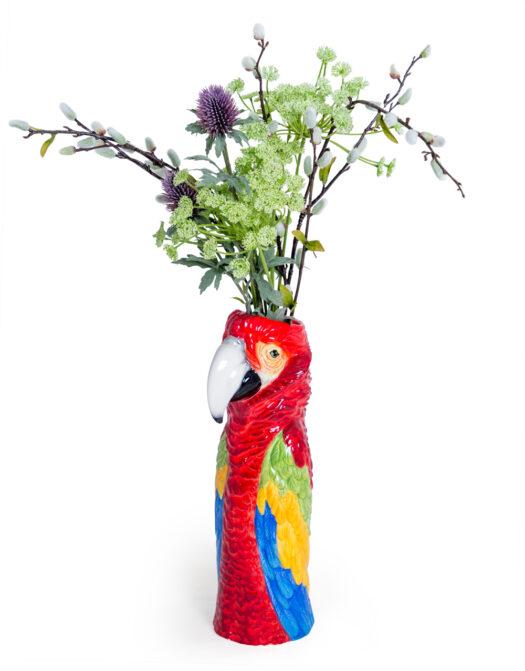 Ceramic Red Macaw/Parrot Head Vase