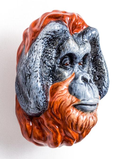 Ceramic Orangutan Head Wall Sconce Vase