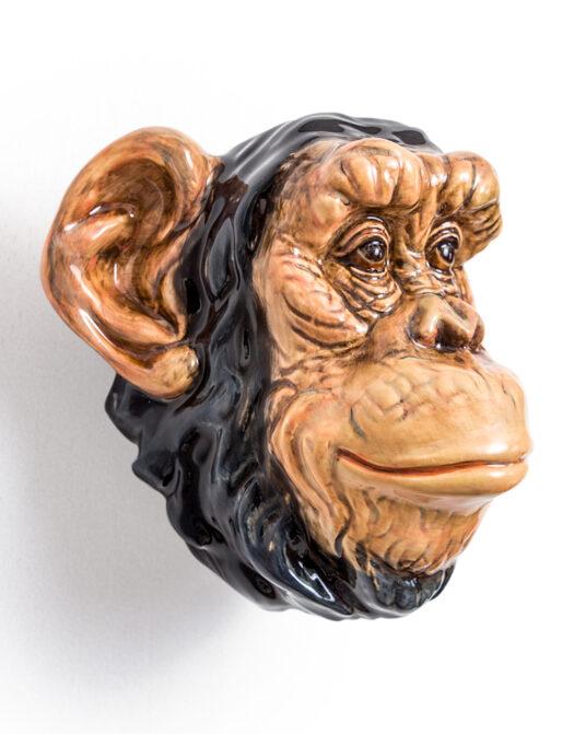 Ceramic Chimpanzee Head Wall Sconce Vase