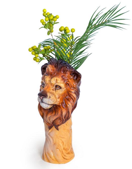 Ceramic Lion Head Vase