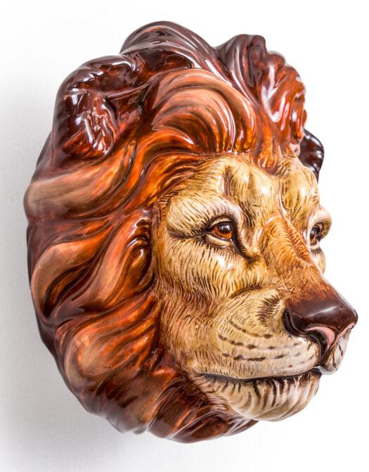 Ceramic Lion Head Wall Sconce Vase