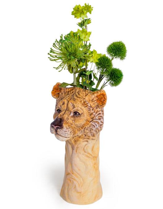 Ceramic Lioness Head Vase