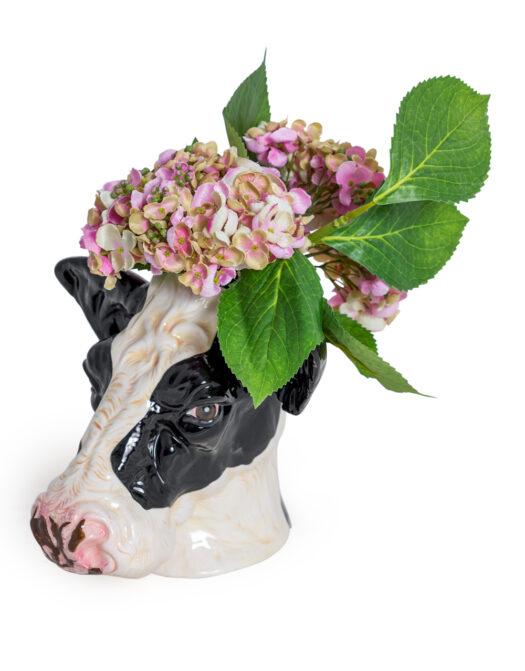 Ceramic Friesian Cow Head Storage Jar/Vase