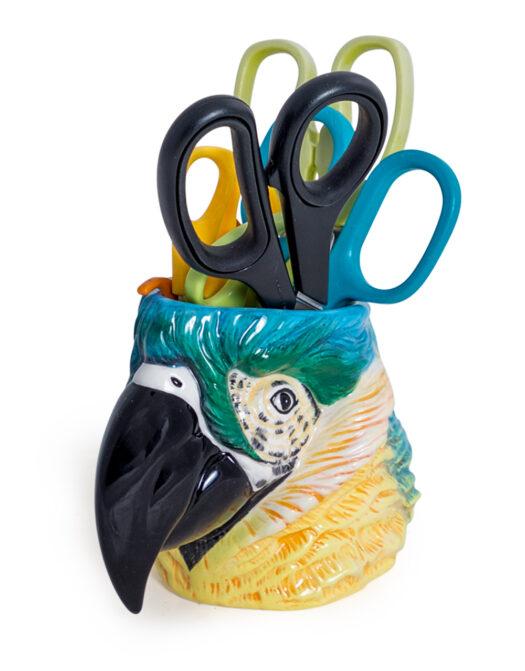 Ceramic Blue Macaw/Parrot Head Storage Jar/Vase
