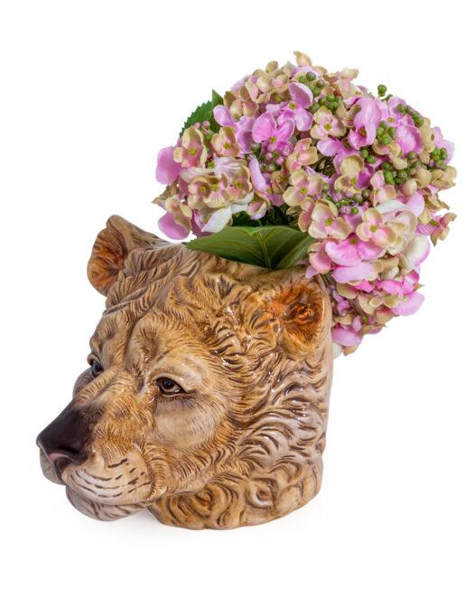 Ceramic Lioness Head Storage Jar/Vase