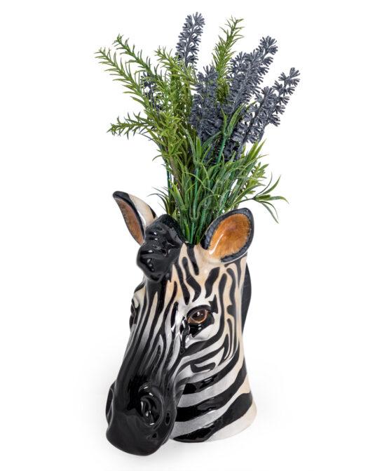 Ceramic Zebra Head Storage Jar/Vase