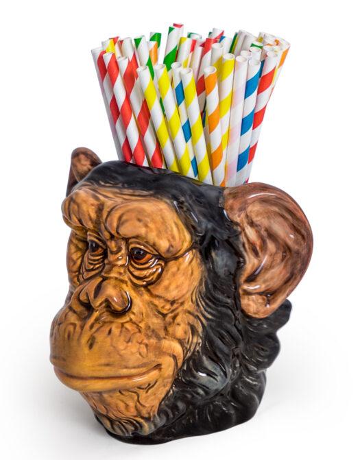 Ceramic Chimpanzee Head Storage Jar/Vase