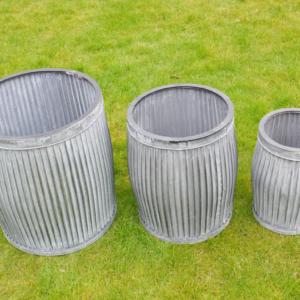 Round Galvanised Planters – Set of 3