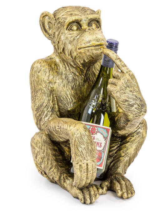 TL103 Antiqued Gold Sitting Monkey Figure:Bottle Holder