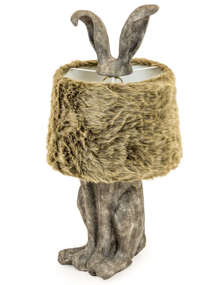 Grey Rabbit Ears Lamp with Fur Shade