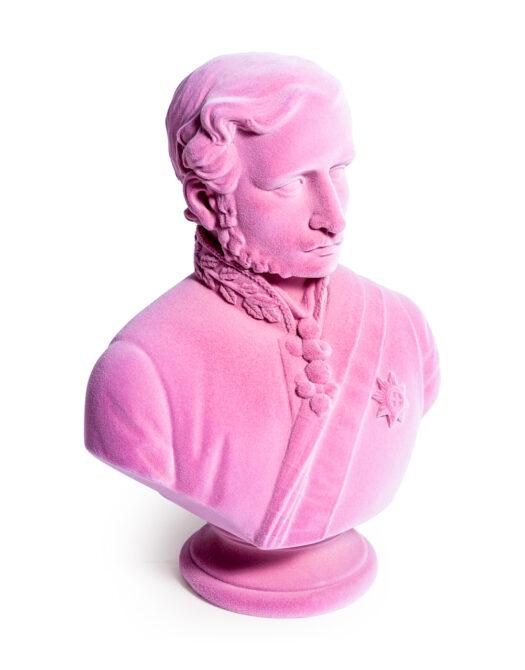 Pink Flock Large Prince Albert Bust