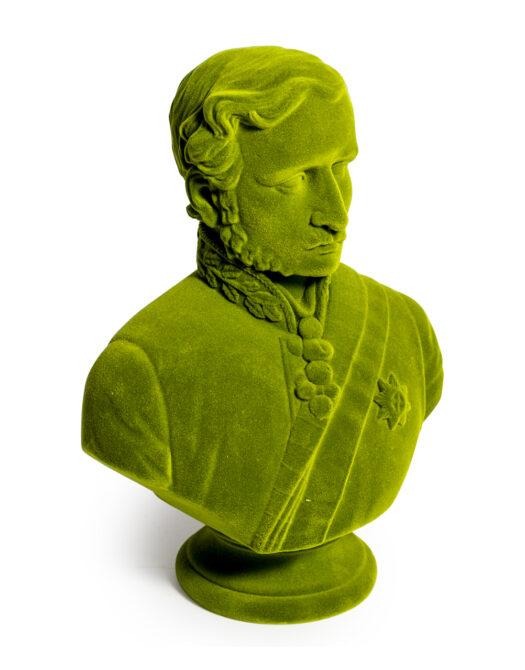 Olive Green Flock Large Prince Albert Bust