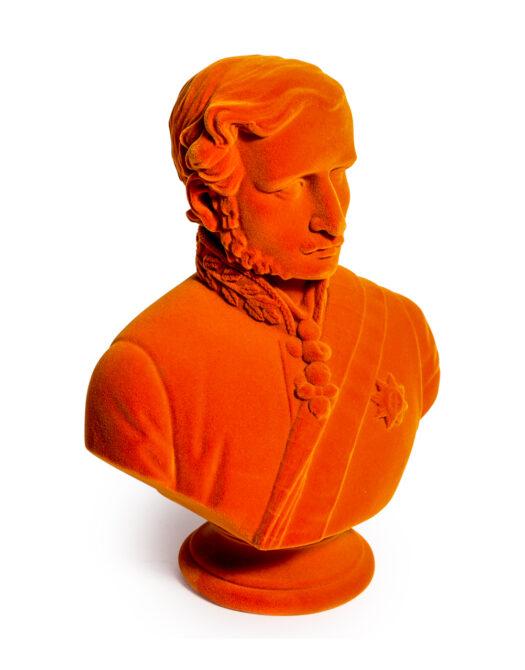 Bright Orange Flock Large Prince Albert Bust