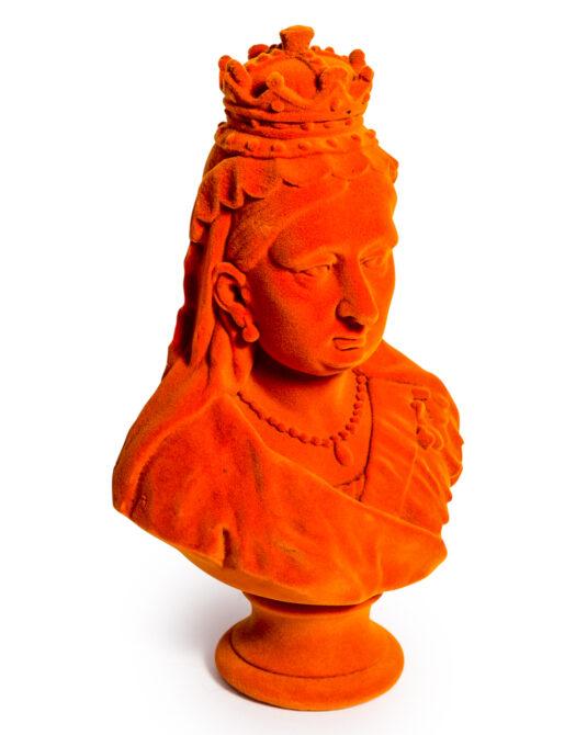 Bright Orange Flock Large Queen Victoria Bust