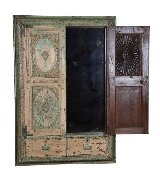 Vintage Indian Carved Window Mirror 654