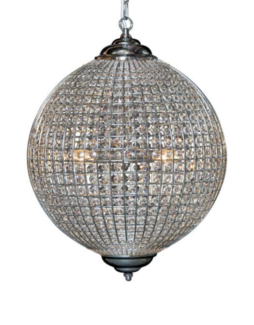 Large Chrome Globe Chandelier