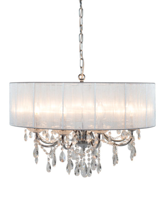 Chrome 8 Branch Chandelier with Silver Shade