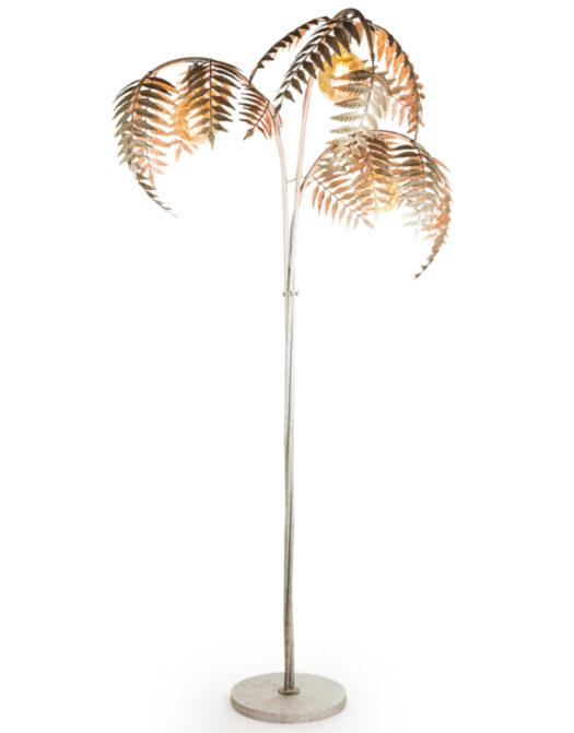 Antique Silver Palm Leaf Floor Lamp