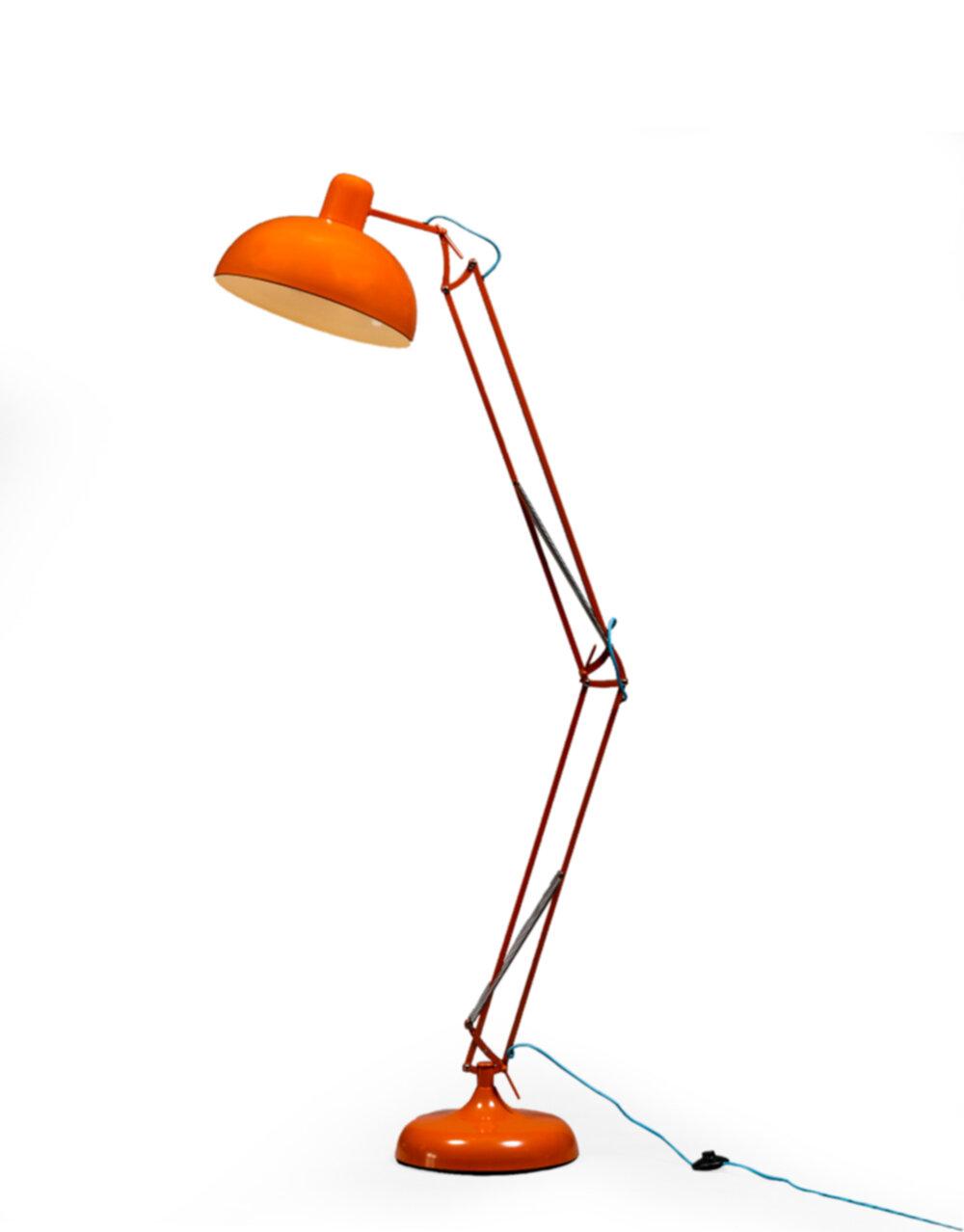 Orange Extra Large Classic Desk Style Floor Lamp (Blue Fabric Flex)..*2 CARTONS*