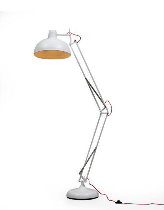 Matt White Extra Large Classic Desk Style Floor Lamp (Red Flex)..*2 CARTONS*