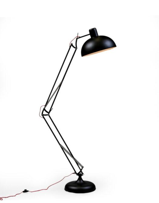 Matt Black Extra Large Classic Desk Style Floor Lamp (Red Fabric Flex)..*2 CARTO