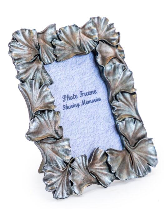 "Antique Silver 4x6 Ginkgo Leaf Photo Frame"""