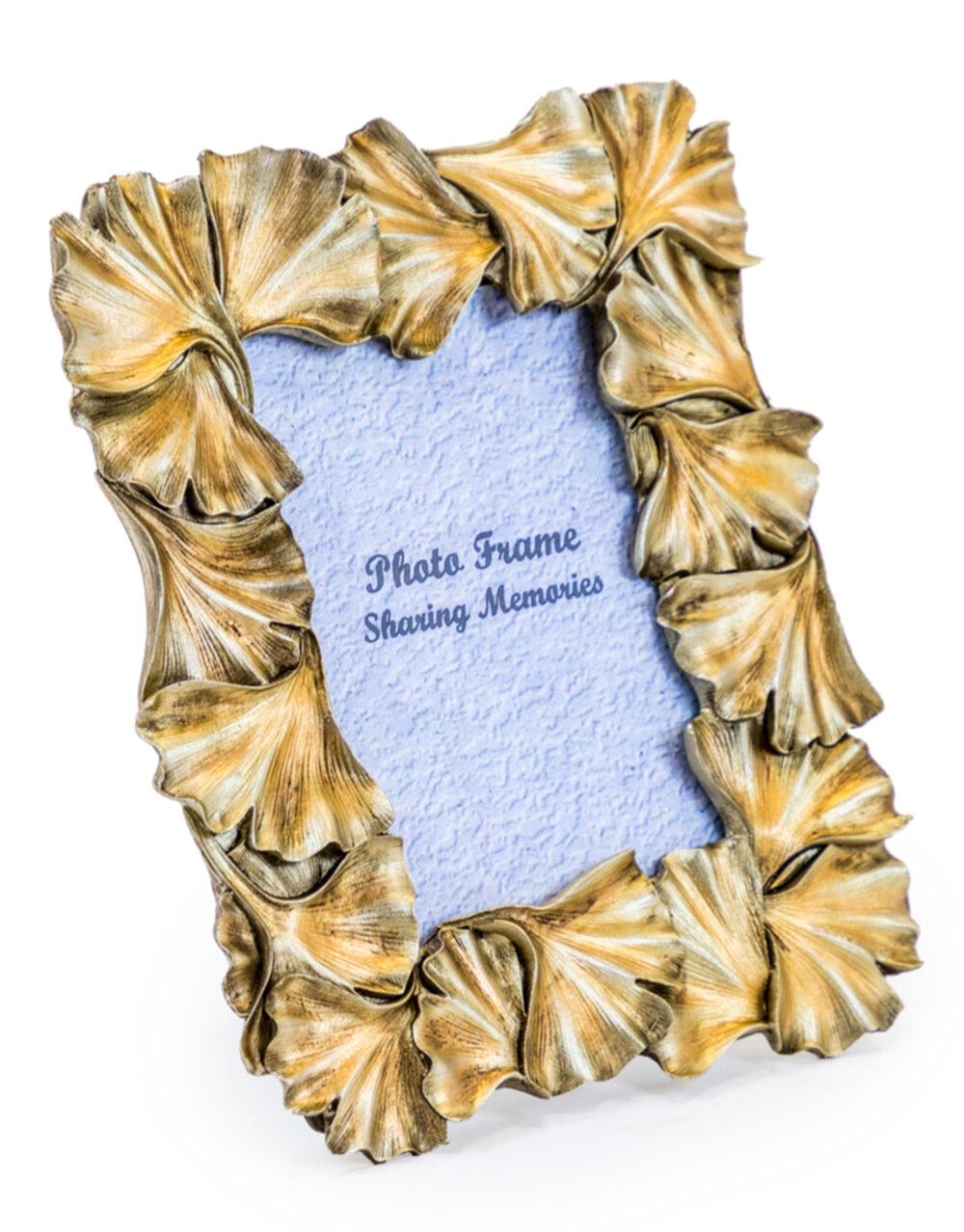 "Antique Gold 4x6 Ginkgo Leaf Photo Frame"""