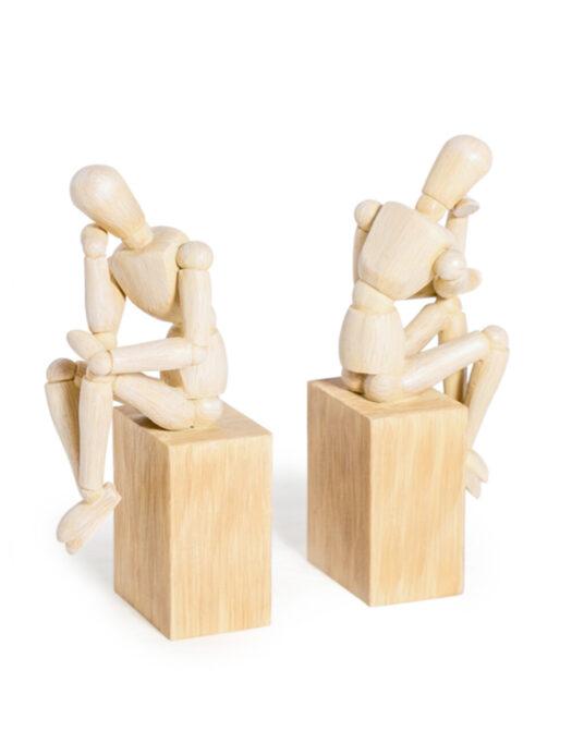 "Set of 2 Thinker"" Wooden Effect Model Man Bookends"""