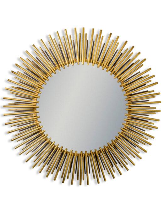Antique Brass Metal Framed Round Sunburst Mirror