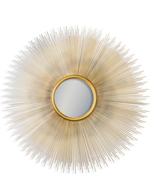 Antique Gold Sunburst Convex Wall Mirror