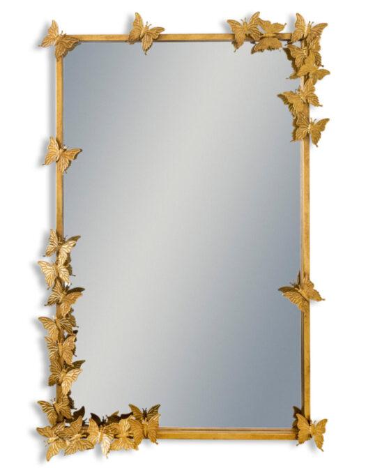 Antique Gold Rectangular Butterfly Frame Wall Mirror