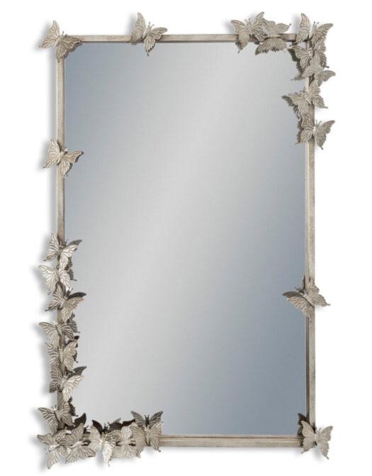 Antique Silver Rectangular Butterfly Frame Wall Mirror