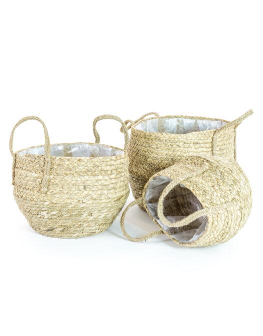 Set of 3 Rustic Weaved Storage Baskets/Plant Pot Baskets