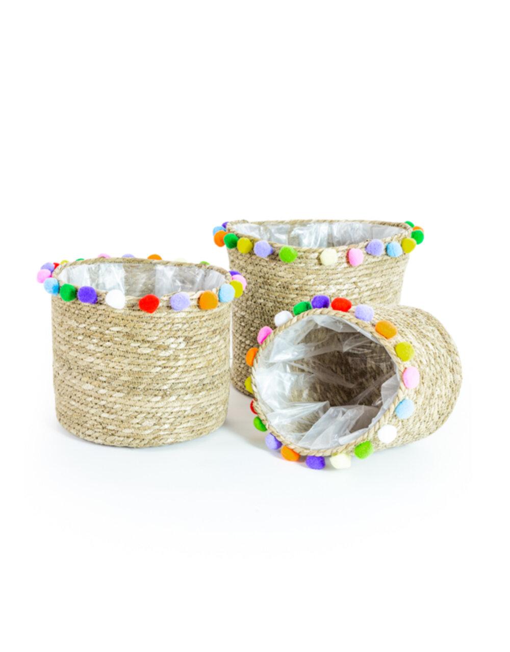Set of 3 Rustic Weaved Storage Pom Pom Baskets/Plant Pot Baskets