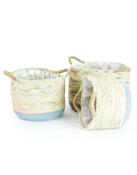 Set of 3 Rustic Wicker & Grey Storage Baskets/Plant Pot Baskets