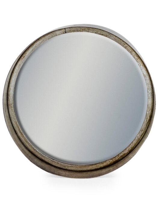 Medium Black and Pewter Deep Framed Cylinder Mirror