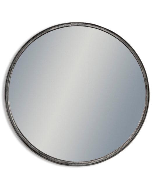 Large Black and Pewter Deep Framed Cylinder Mirror