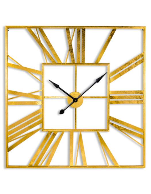 Large Square Gold Skeleton Clock