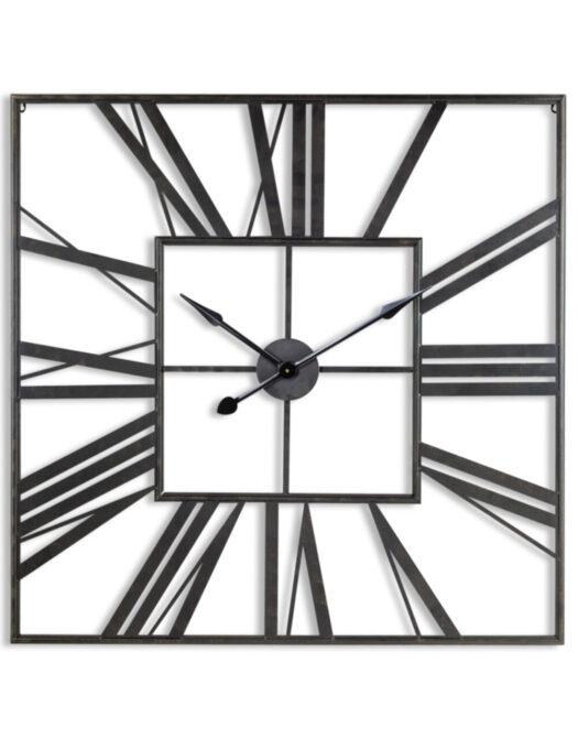 Large Square Black Skeleton Clock