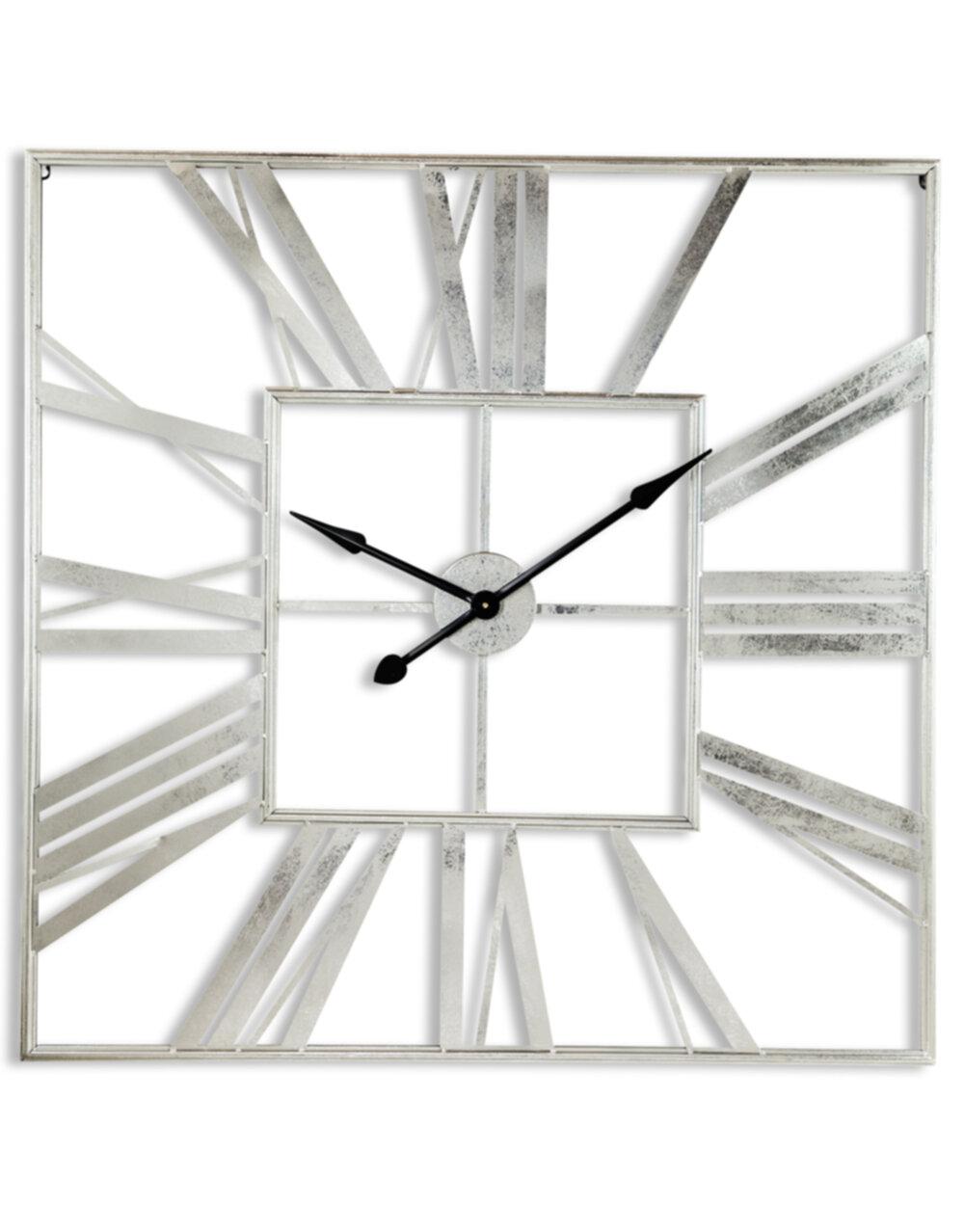 Large Square Silver Skeleton Clock