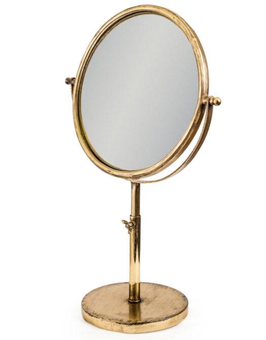Small Antique Gold Convex Adjustable Table Mirror