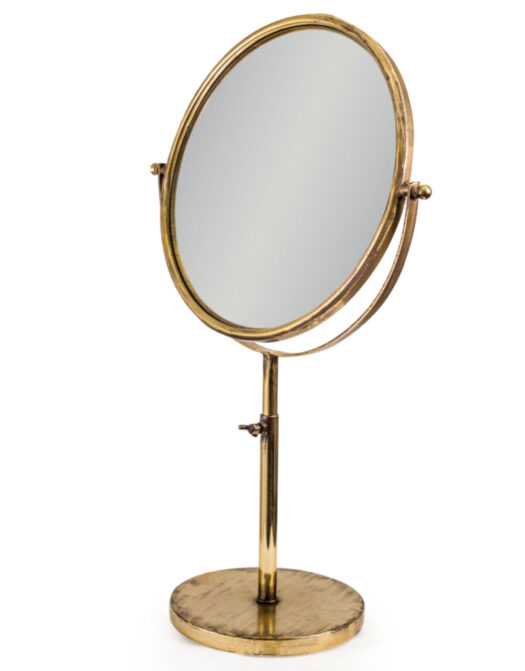 Large Antique Gold Convex Adjustable Table Mirror