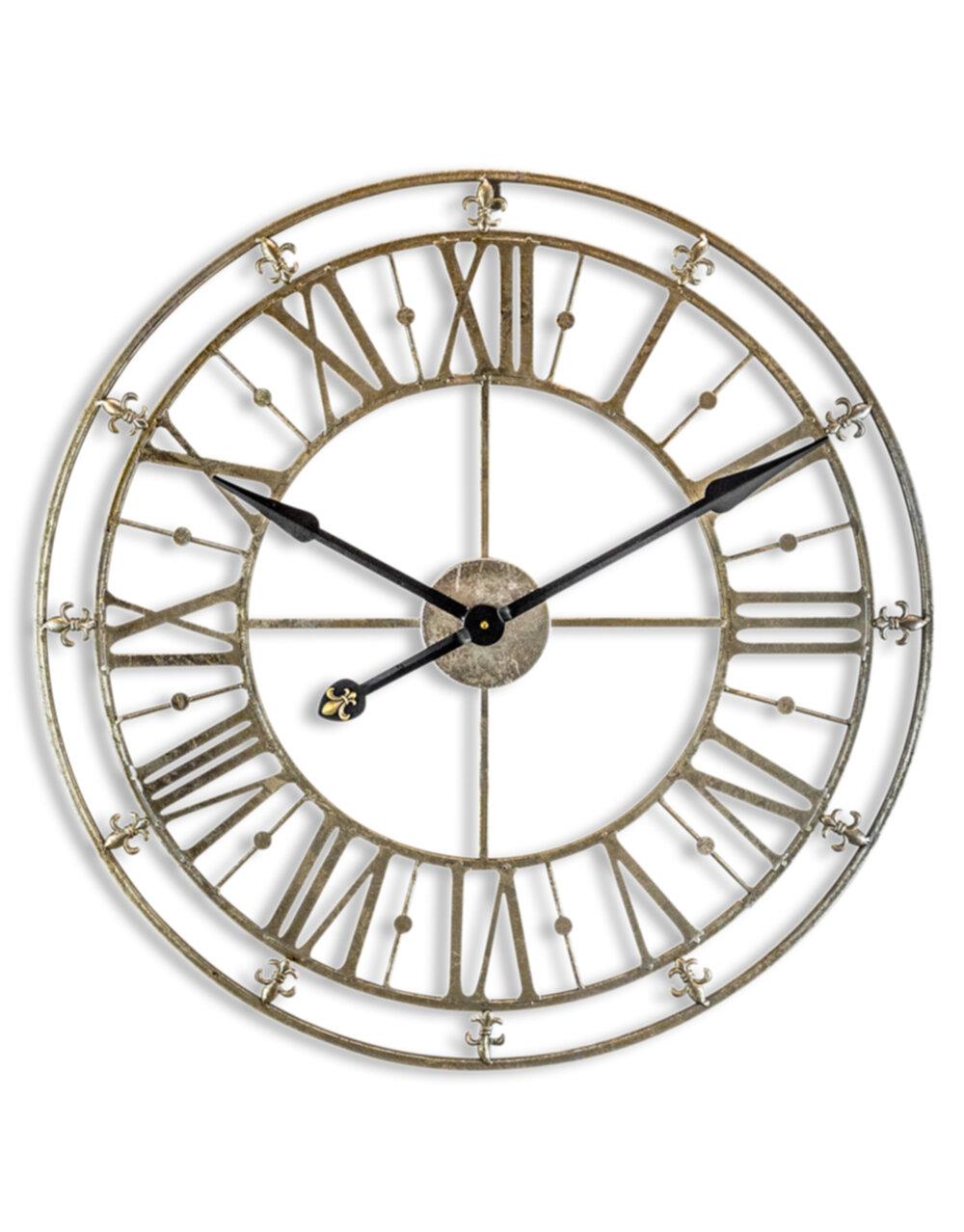 Medium Champagne/Silver Iron Skeleton Wall Clock