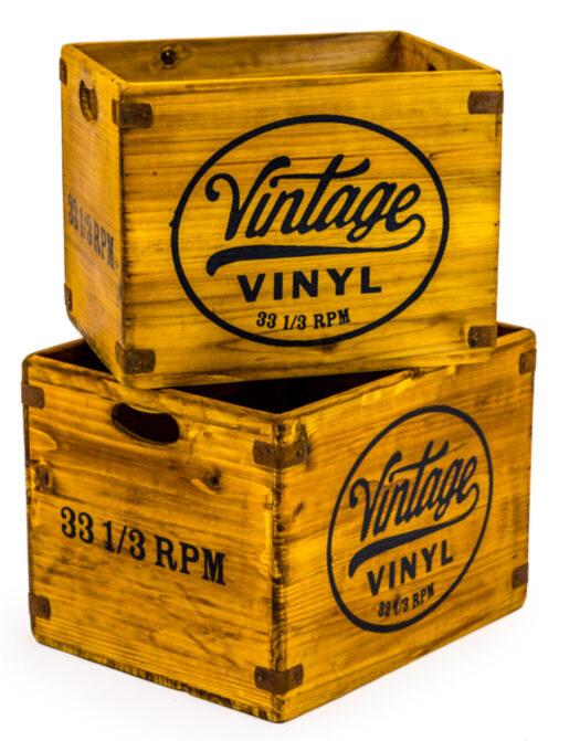 "Set of 2 Antiqued Wooden Vintage Vinyl"" LP Record Storage Boxes"""