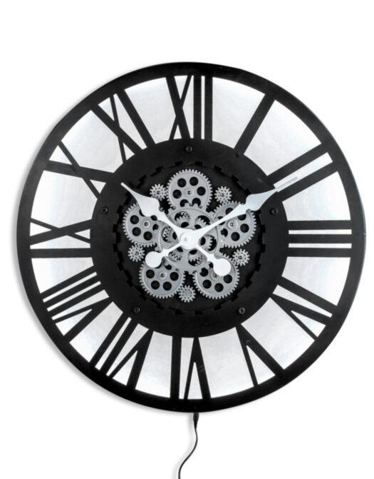 Large Black Skeleton Backlit Moving Gears Wall Clock