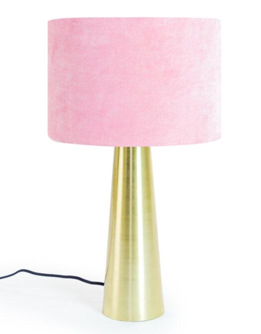 Brass Column Table Lamp with Pink Velvet Shade