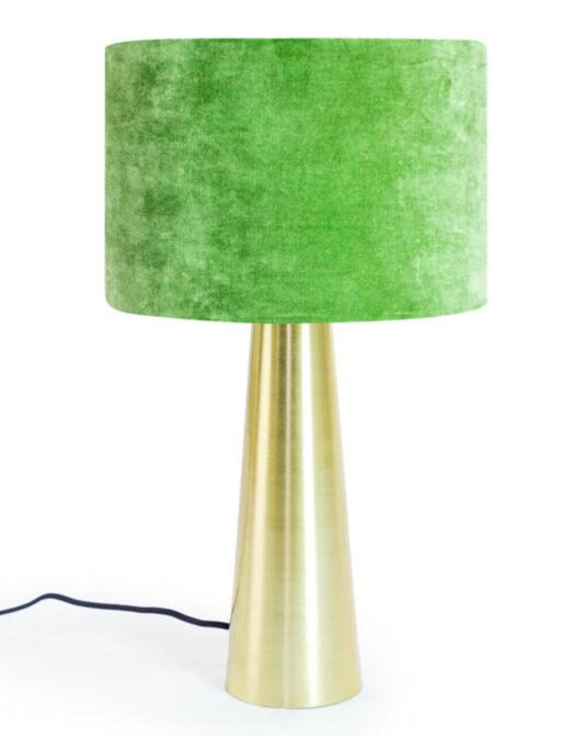 Brass Column Table Lamp with Forest Green Velvet Shade