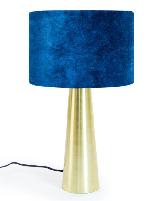 Brass Column Table Lamp with Royal Blue Velvet Shade