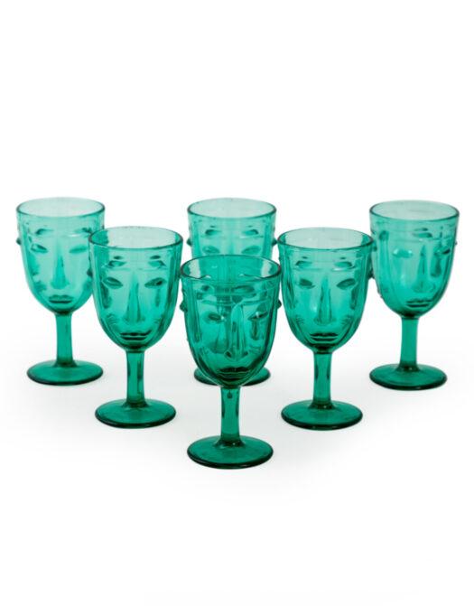 Set of 6 Teal Deco Face Wine Glasses